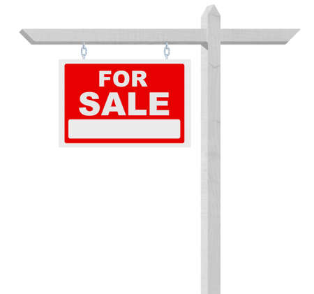 nobody real: For sale real estate sign isolated on white background