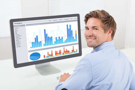 Rear view portrait of happy businessman analyzing financial graphs on computer in office photo