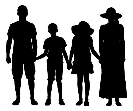 Full length of silhouette family holding hands while standing over white background. Vector image Vector