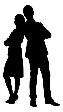 back to back couple: Full length of silhouette couple standing arms crossed against white background. Vector image