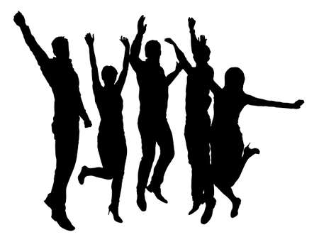 businessman jumping: Full length of silhouette business people with arms raised standing against white background. Vector image