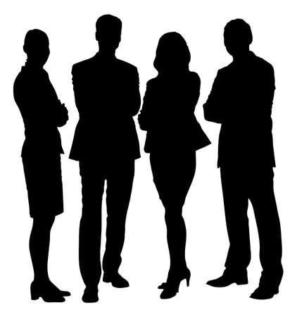 silueta hombre: Longitud total de la gente de negocios silueta de pie con los brazos cruzados contra el fondo blanco. Vector de imagen