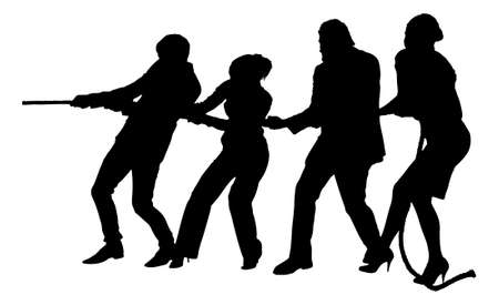 Full length of silhouette business people playing tug of war against white background. Vector image