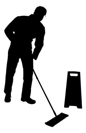 mop floor: Full length of silhouette man cleaning floor with mop over white background. Vector image