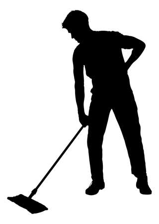 Full length of silhouette man sweeping floor with mop over white background. Vector image Illustration