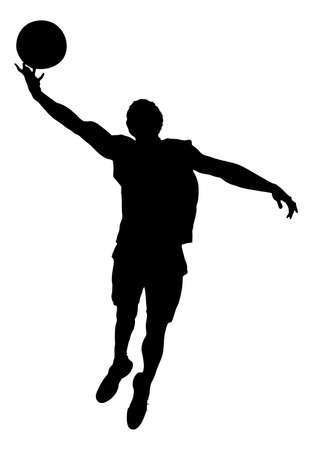 midair: Full length of silhouette basketball player playing against white background. Vector image Illustration