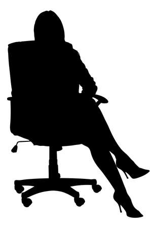 legs crossed at knee: Full length of silhouette businesswoman sitting on office chair against white background. Vector image Illustration