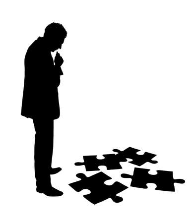 Full length of silhouette businessman solving jigsaw puzzle over white background. Vector image Illustration