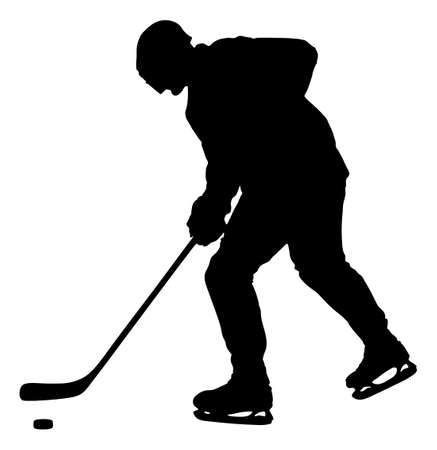 length: Full length of silhouette man playing ice hockey against white background. Vector image