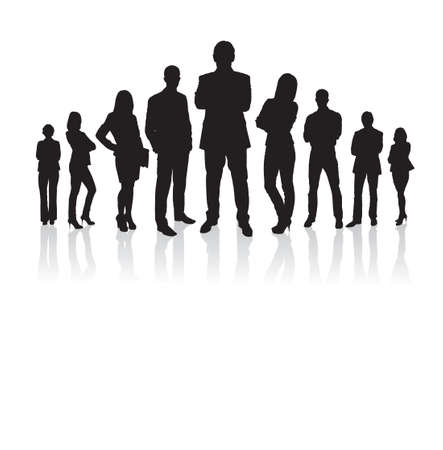 standing: Full length of silhouette business people with arms crossed standing against white background. Vector image