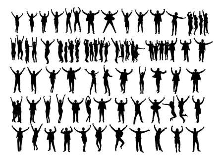 row: Collage of silhouette business people raising arms in victory over white background. Vector image