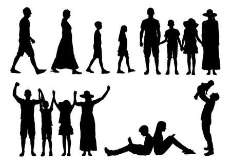 family playing: Collage of silhouette families isolated over white background. Vector image
