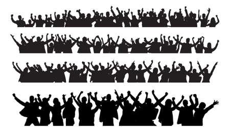 multitud gente: Collage de la gente de negocios de silueta levantar los brazos en señal de victoria contra el fondo blanco. Vector de imagen Vectores