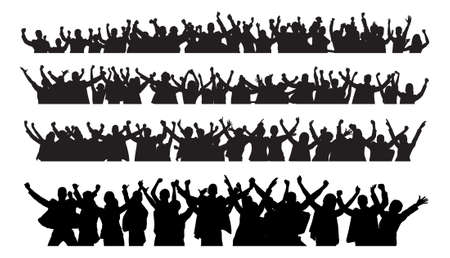 black and white image: Collage of silhouette business people raising arms in victory against white background. Vector image