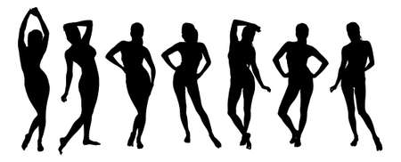 Collage of silhouette woman giving various poses against white background. Vector image Illustration