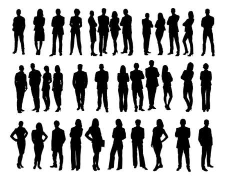 persona de pie: Collage de personas silueta de negocios de pie contra el fondo blanco. Vector de imagen