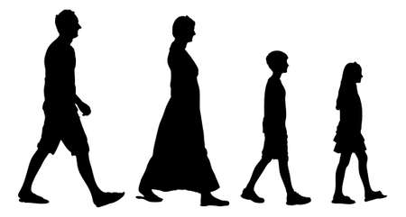 woman side view: Full length of silhouette family walking in line against white background. Vector image