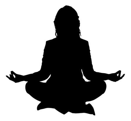 black and white image: Full length of silhouette woman practicing yoga in lotus position against white background. Vector image