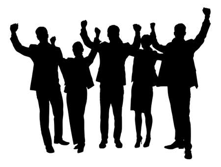 Full length of silhouette business people with arms raised standing against white background. Vector image