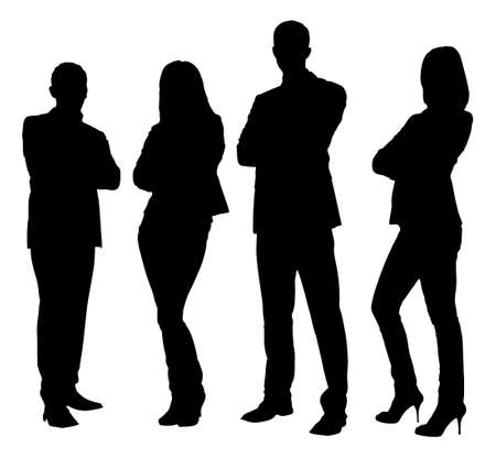 person: Full length of silhouette business people standing with arms crossed against white background. Vector image