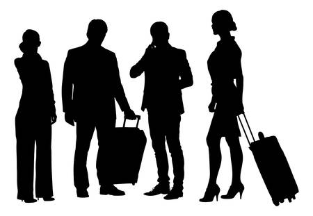 Full length of silhouette business people with luggage standing against white background. Vector image Vector