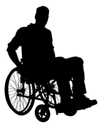 wheelchair: Full length of silhouette businessman sitting on wheelchair over white background. Vector image