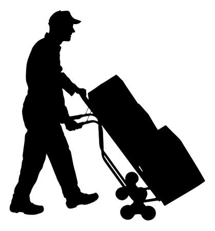 delivery man: Full length of silhouette delivery man pushing handtruck with cardboard boxes against white background. Vector image Illustration