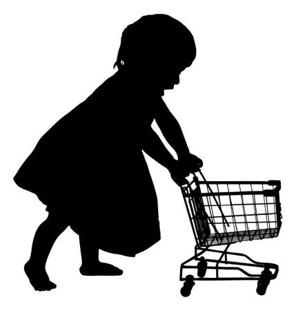 Full length of silhouette girl pushing shopping cart against white background. Vector image Vector