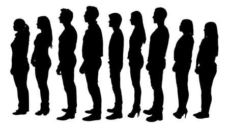 side view: Full length of silhouette people standing in line against white background. Vector image Illustration
