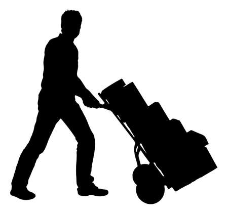 Full length of silhouette delivery man pushing handtruck with packages against white background. Vector image