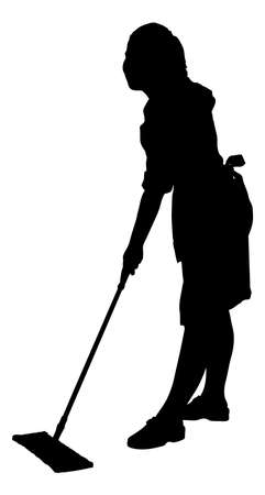 Full length of silhouette maid sweeping floor with mop over white background. Vector image Stock Illustratie
