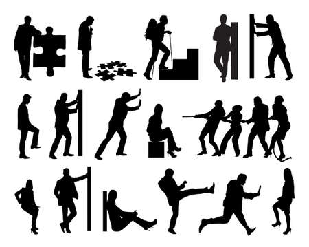 Collage of silhouette business people doing various tasks over white background. Vector image Illustration
