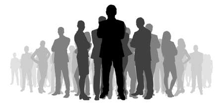length: Full length of silhouette business people with arms crossed standing against white background. Vector image