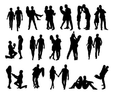 persone che ballano: Lunghezza completa di coppia silhouette facendo varie attività contro sfondo bianco. Immagine vettoriale