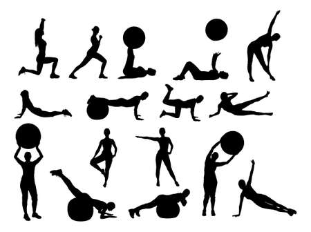 big figure: Collage of silhouette woman exercising over white background. Vector image Illustration
