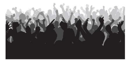 흰색 배경 위에 콘서트 도중 손을 올리는 실루엣 군중입니다. 벡터 이미지 일러스트