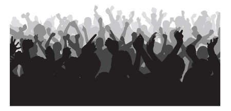 concert audience: Silhouette crowd raising hands during concert over white background. Vector image Illustration