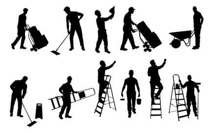 carretilla: Collage de varios trabajadores silueta aislados sobre fondo blanco. Vector de imagen