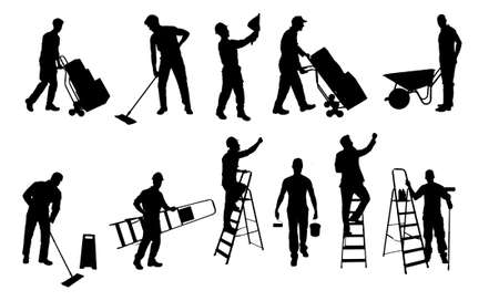 cleaning equipment: Collage of various silhouette workers isolated over white background. Vector image Illustration