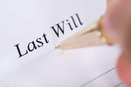 testament: Writing Last Will and Testament. Closeup shot