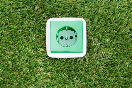 wall socket: Wall socket on grass. Green energy concept
