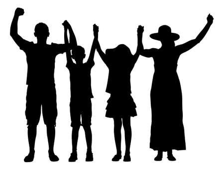 arms raised: Full length of silhouette family with arms raised isolated over white background.