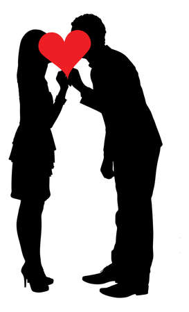 Full length of silhouette couple kissing behind heart shape against white background.  Vector