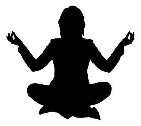 mudra: Full length of silhouette woman practicing yoga in lotus position against white background.