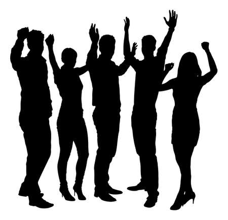 arms raised: Full length of silhouette business people with arms raised standing against white background.
