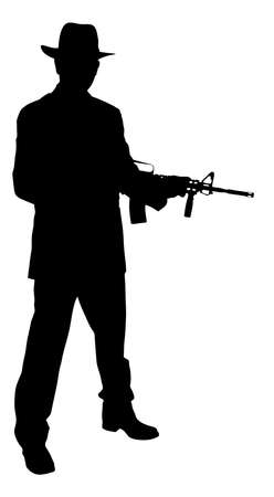Full length of silhouette gangster holding rifle while standing over white background.  Vector