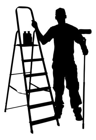 Full length of silhouette painter with ladder standing against white background.  Illustration