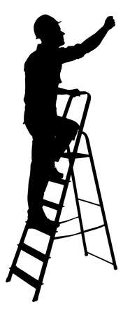 Full length of silhouette construction worker climbing on ladder against white background.