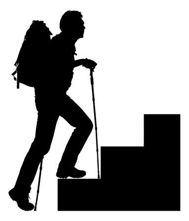 trekker: Full length of silhouette hiker with hiking poles and backpack climbing steps over white background.