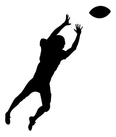 american football player: Full length of silhouette American football player playing against white background.